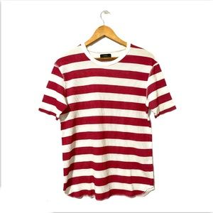 Zara White/Red Striped Sweater  Tee Shirt size L